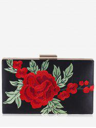 Flower Embroidered Clutch Bag -