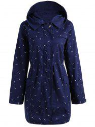 Plus Size Pocket Hooded Printed Jacket -