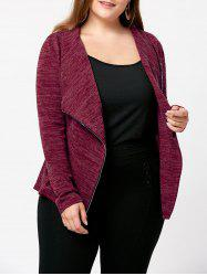 Plus Size Marled Zipper Up Cardigan -