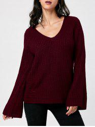Ripped V Neck Chunky Sweater -