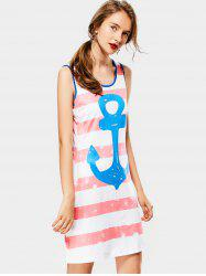 Casual Scoop Collar Sleeveless Striped Anchor Print Women's Sundress -