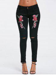Ripped Embroidery Jeans - BLACK S