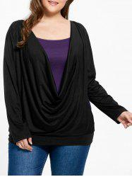 Plus Size Open Back Cowl Neck Tee and Tank Top -