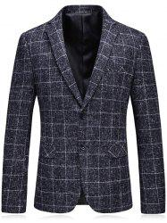 Lapel Single Breasted Heathered Checked Blazer -