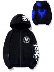 Luminous Skull Pterosaur Print Zip Up Hoodie -