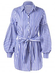 Lantern Sleeve Tie Belt Striped Shirt Dress -