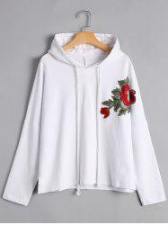 Floral Applique Pullover Hoodie -