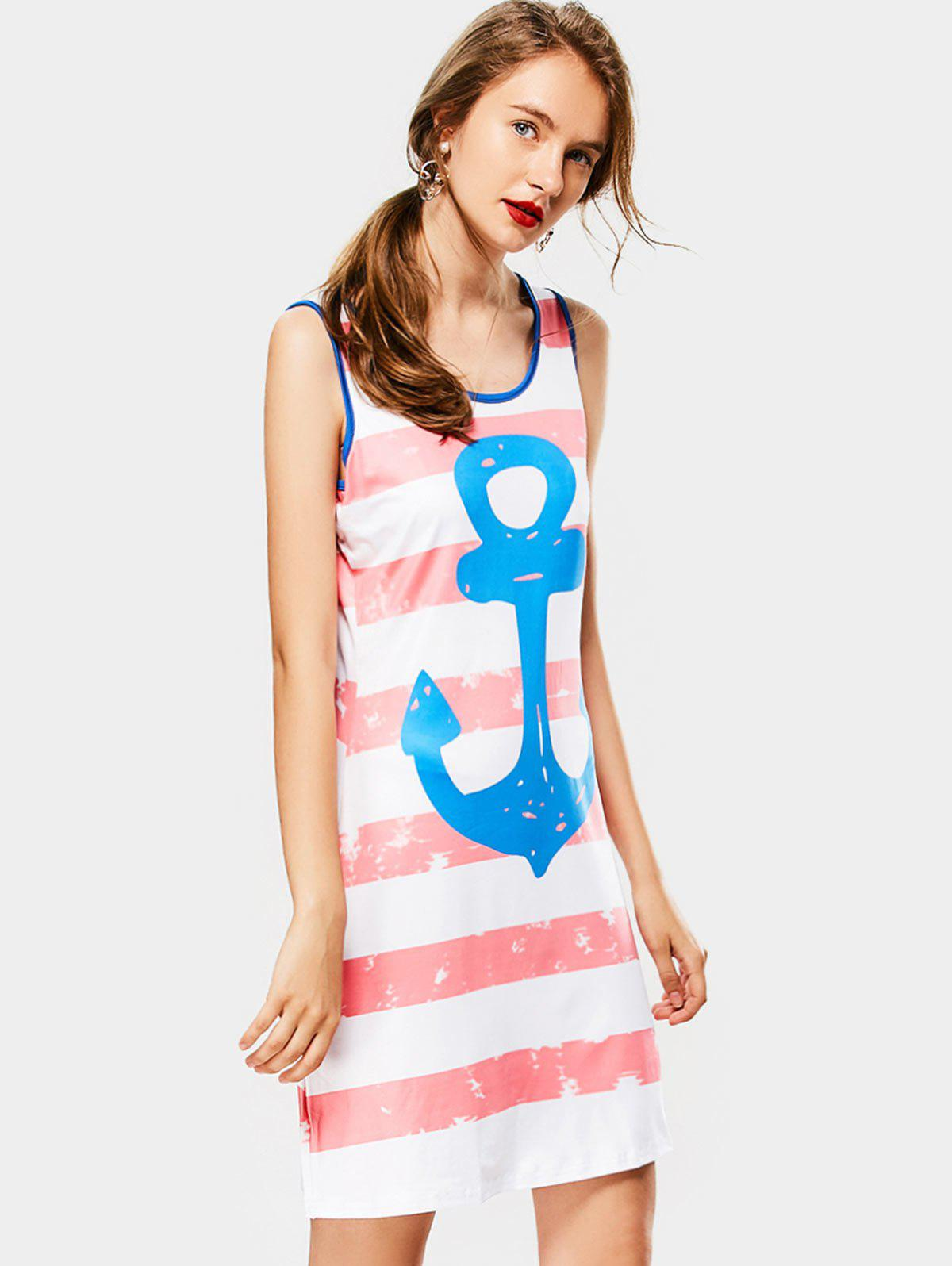 Online Casual Scoop Collar Sleeveless Striped Anchor Print Women's Sundress
