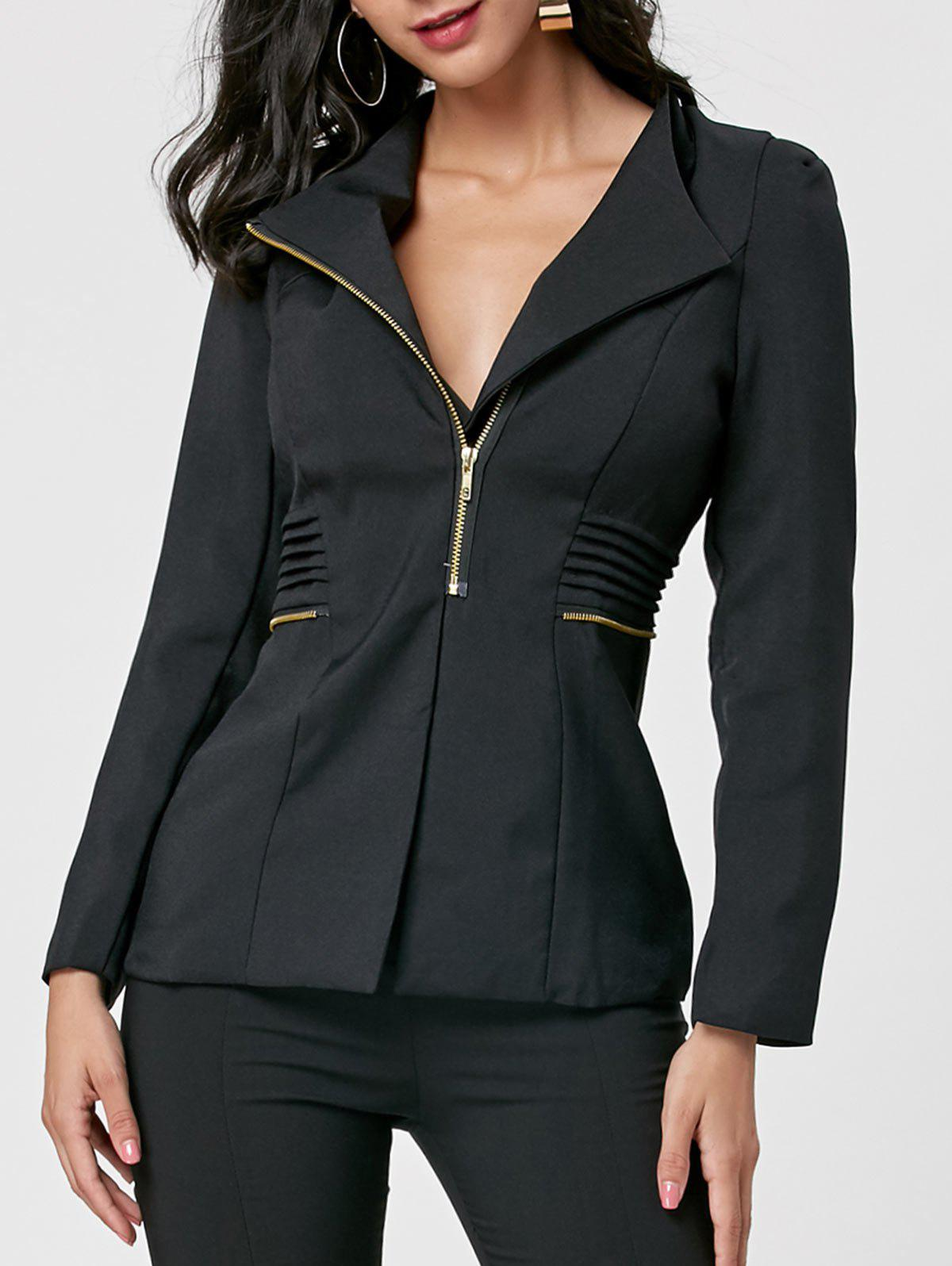 Fashion Zipper Ruched Tunic Blazer