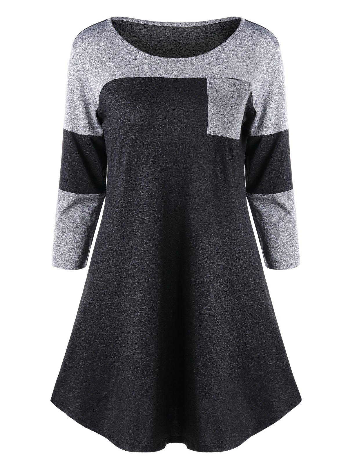 Marled Patch Pocket Tunic TopWOMEN<br><br>Size: M; Color: GRAY; Material: Polyester,Spandex; Shirt Length: Long; Sleeve Length: Half; Collar: Round Neck; Style: Casual; Season: Fall,Spring,Summer; Pattern Type: Solid; Weight: 0.2700kg; Package Contents: 1 x Top;