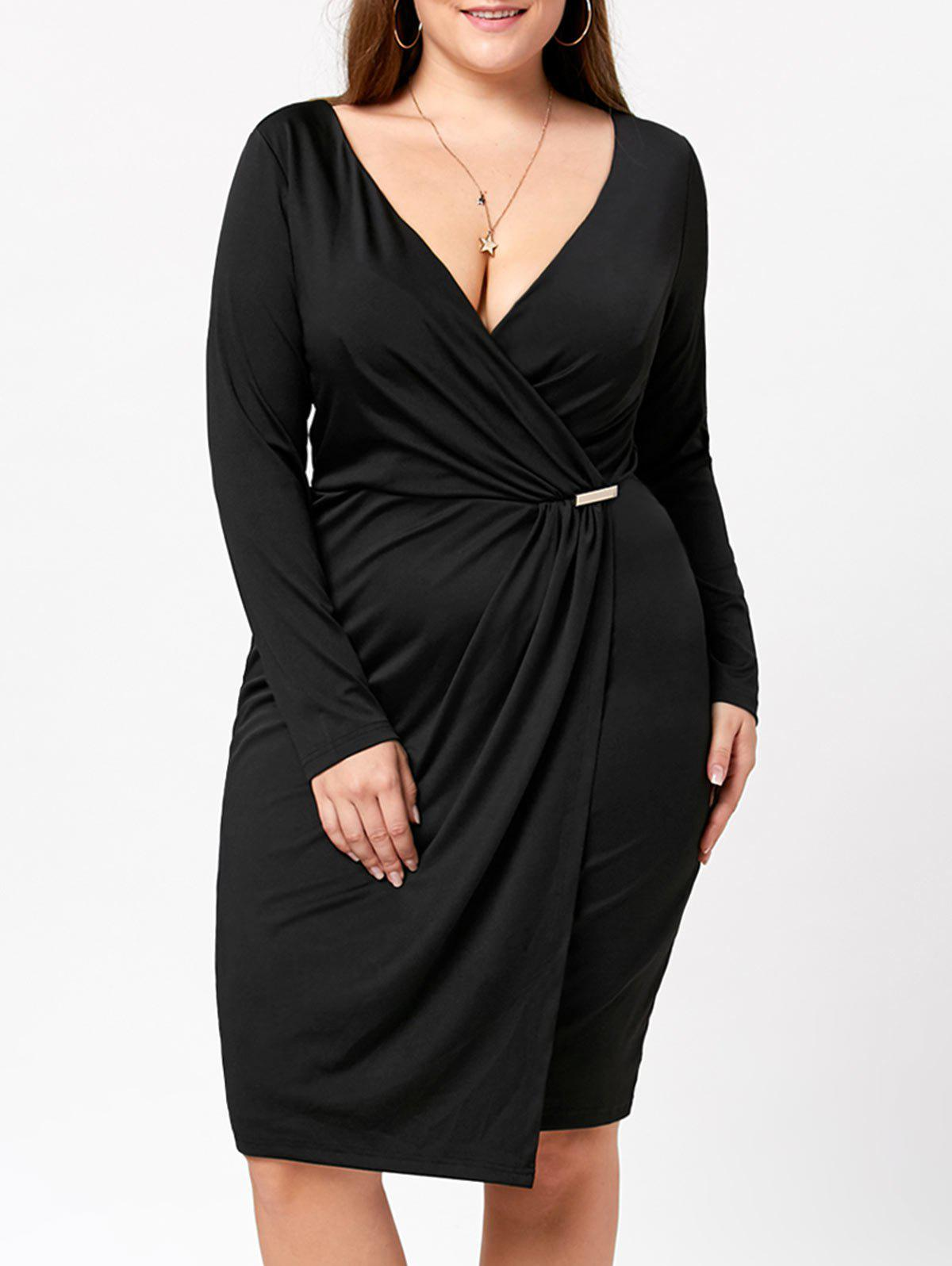 4eb13b99845 Hot Plunging Neck Plus Size Fitted Dress
