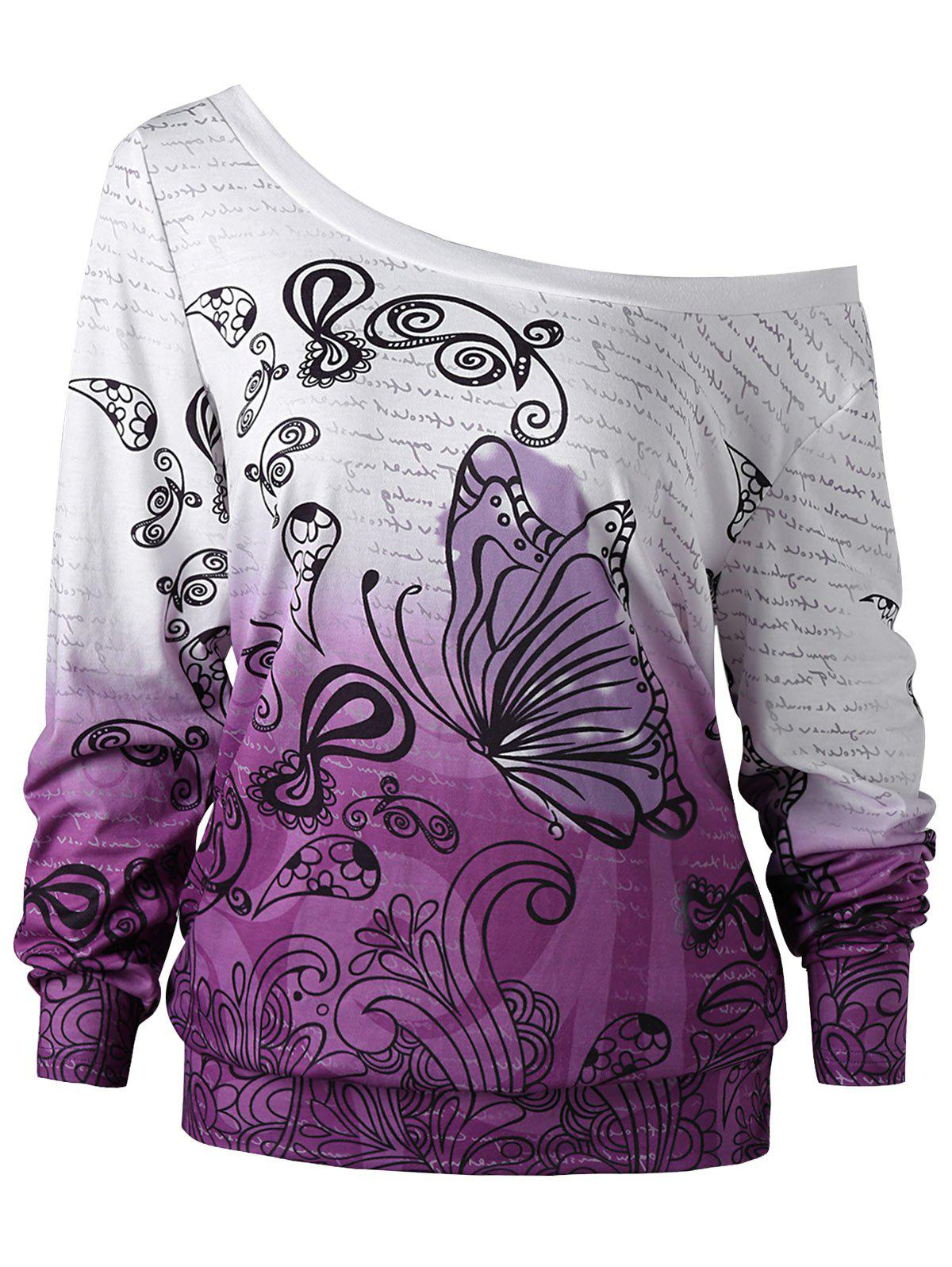 Plus Size Ombre Butterfly Print SweatshirtWOMEN<br><br>Size: 3XL; Color: WHITE + PURPLE; Material: Polyester,Spandex; Shirt Length: Regular; Sleeve Length: Full; Style: Casual; Pattern Style: Insect; Season: Fall,Spring; Weight: 0.3100kg; Package Contents: 1 x Sweatshirt;