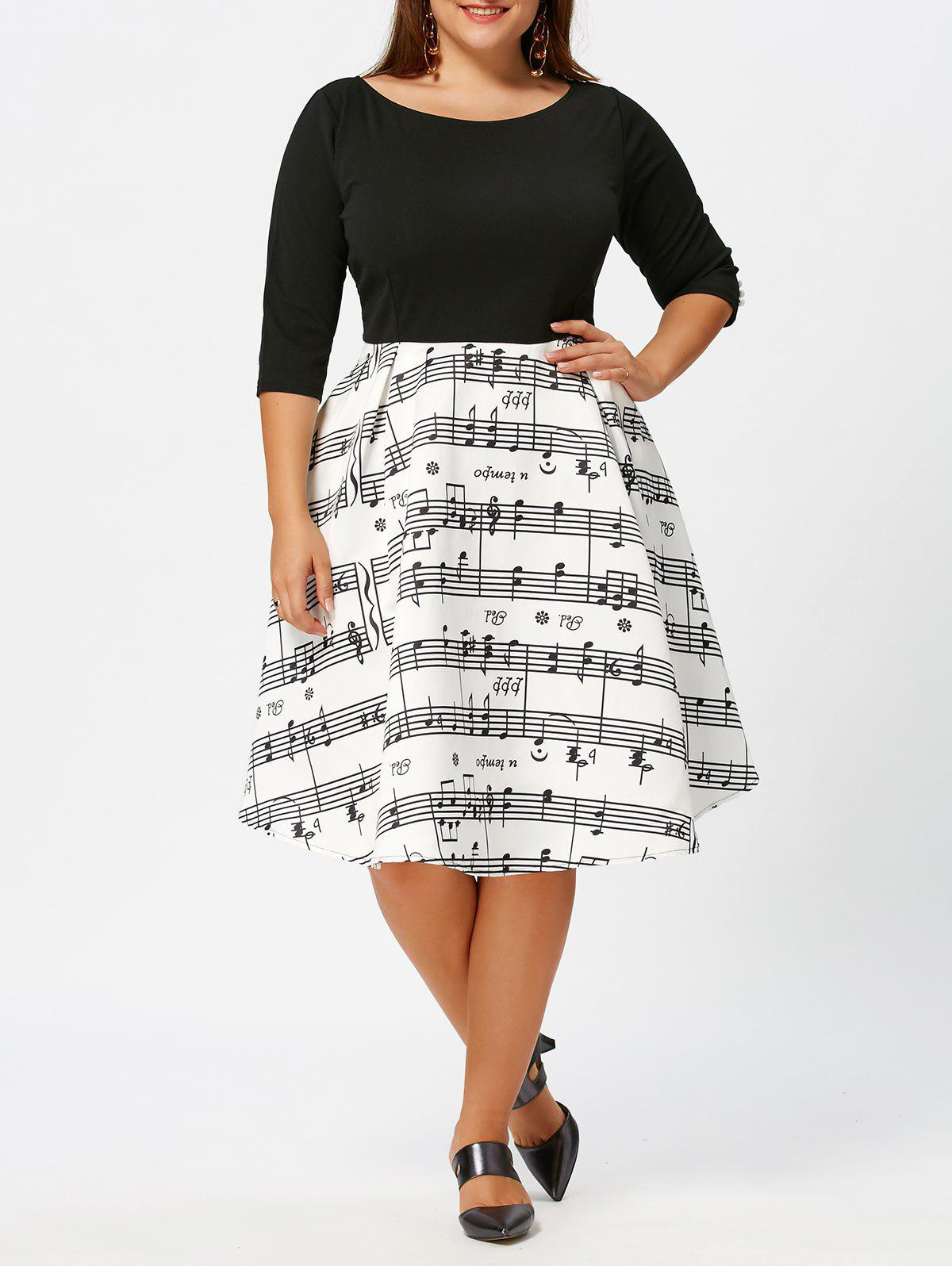 Musical Notes Print Plus Size Vintage DressWOMEN<br><br>Size: 4XL; Color: WHITE AND BLACK; Style: Casual; Material: Polyester,Spandex; Silhouette: A-Line; Dresses Length: Knee-Length; Neckline: Round Collar; Sleeve Length: 3/4 Length Sleeves; Waist: Empire; Embellishment: Panel; Pattern Type: Others; Elasticity: Elastic; With Belt: No; Season: Fall,Spring; Weight: 0.5500kg; Package Contents: 1 x Dress;