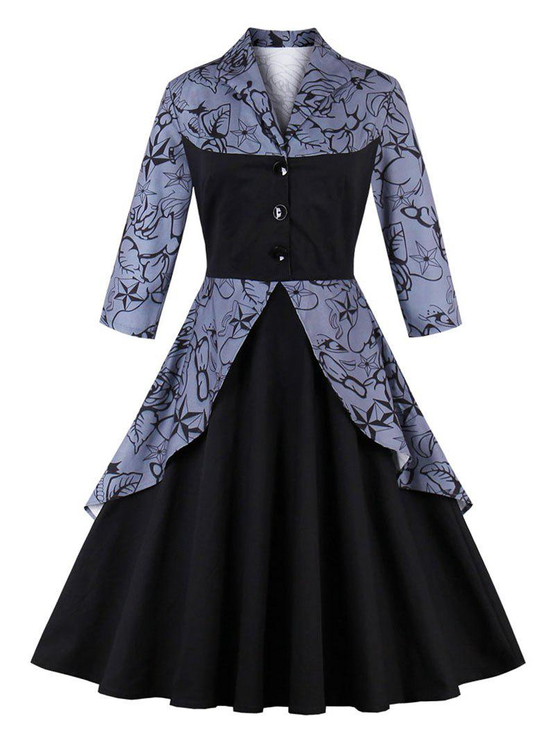 Vintage Printed Pin Up Peplum DressWOMEN<br><br>Size: L; Color: BLACK; Style: Vintage; Material: Cotton,Polyester; Silhouette: A-Line; Dresses Length: Knee-Length; Neckline: Turn-down Collar; Sleeve Length: 3/4 Length Sleeves; Pattern Type: Solid; With Belt: No; Season: Fall,Spring; Weight: 0.5300kg; Package Contents: 1 x Dress;
