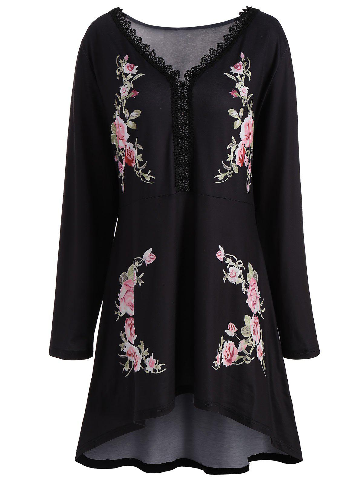 High Low Floral Plus Size V-neck TopWOMEN<br><br>Size: 3XL; Color: BLACK; Material: Polyester; Shirt Length: Long; Sleeve Length: Full; Collar: V-Neck; Style: Fashion; Season: Fall,Spring; Pattern Type: Floral; Weight: 0.4200kg; Package Contents: 1 x Top;