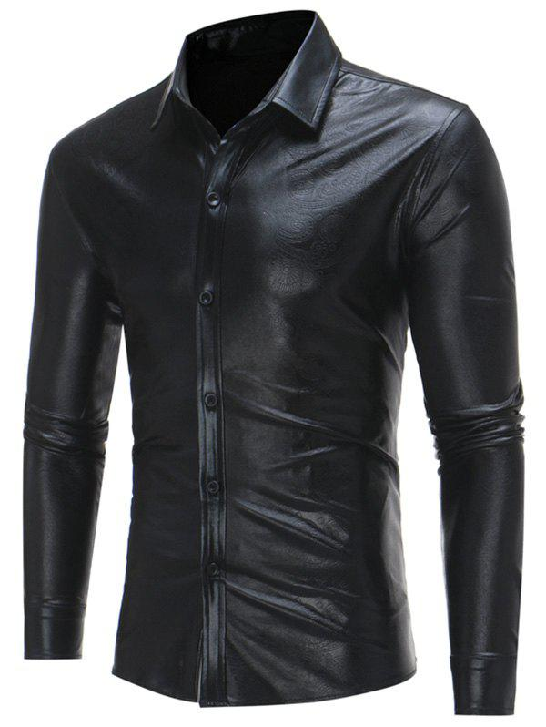 Long Sleeve Metallic Color Embossed ShirtMEN<br><br>Size: XL; Color: BLACK; Shirts Type: Casual Shirts; Material: Polyester; Sleeve Length: Full; Collar: Turndown Collar; Pattern Type: Floral; Weight: 0.3500kg; Package Contents: 1 x Shirt;