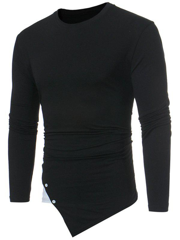 Contrast Panel Botton Embellished Asymmetric TeeMEN<br><br>Size: S; Color: BLACK; Material: Cotton,Polyester,Spandex; Sleeve Length: Full; Collar: Crew Neck; Style: Casual; Embellishment: Button; Pattern Type: Others; Season: Fall,Spring; Weight: 0.2900kg; Package Contents: 1 x Tee;