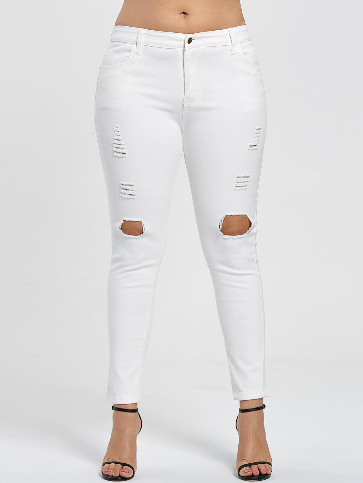 Slim Fit Plus Size Destroyed JeansWOMEN<br><br>Size: 5XL; Color: WHITE; Style: Fashion; Length: Ninth; Material: Jeans; Fabric Type: Denim; Fit Type: Skinny; Waist Type: Low; Closure Type: Zipper Fly; Pattern Type: Solid; Embellishment: Hole,Pockets; Pant Style: Pencil Pants; Weight: 0.4800kg; Package Contents: 1 x Jeans;