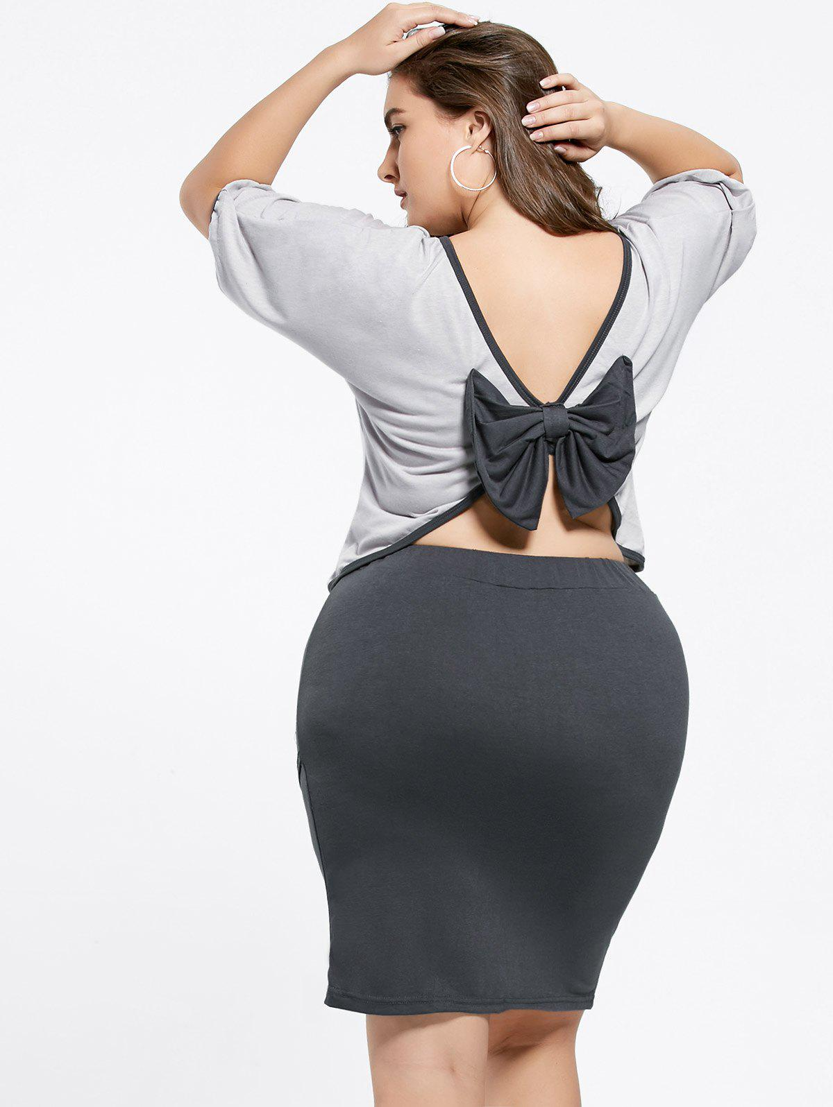 Sweet 3/4 Sleeve Backless Bowknot T-Shirt+Plus Size Skirt Twinset For WomenWOMEN<br><br>Size: 3XL; Color: BLACK AND GREY; Style: Cute; Material: Polyester; Silhouette: Sheath; Dresses Length: Knee-Length; Neckline: Scoop Neck; Sleeve Length: 3/4 Length Sleeves; Embellishment: Bowknot; Pattern Type: Others; With Belt: No; Season: Summer; Weight: 0.4400kg; Package Contents: 1 x T-Shirt   1 x Skirt;