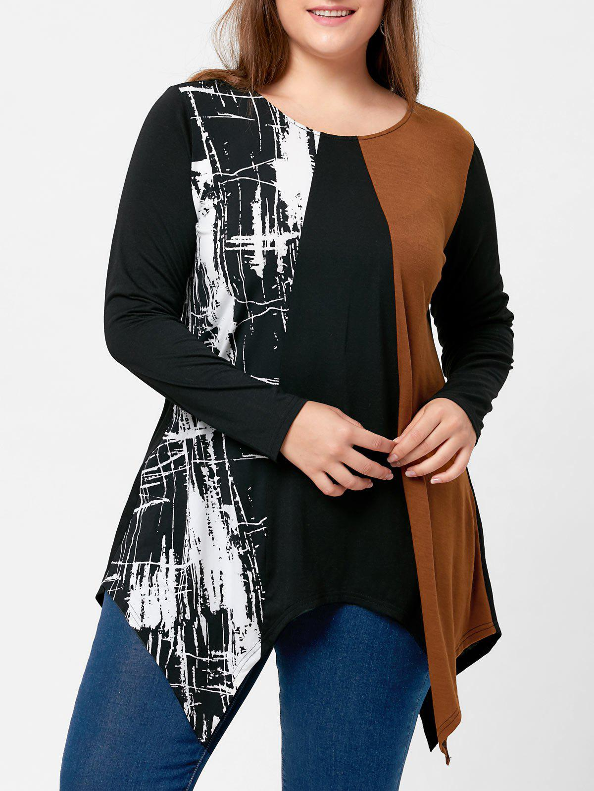 Plus Size Long Sleeve Handkerchief TeeWOMEN<br><br>Size: 5XL; Color: BLACK; Material: Polyester,Spandex; Shirt Length: Long; Sleeve Length: Full; Collar: Round Neck; Style: Casual; Season: Fall,Spring; Pattern Type: Others; Weight: 0.3100kg; Package Contents: 1 x Top;
