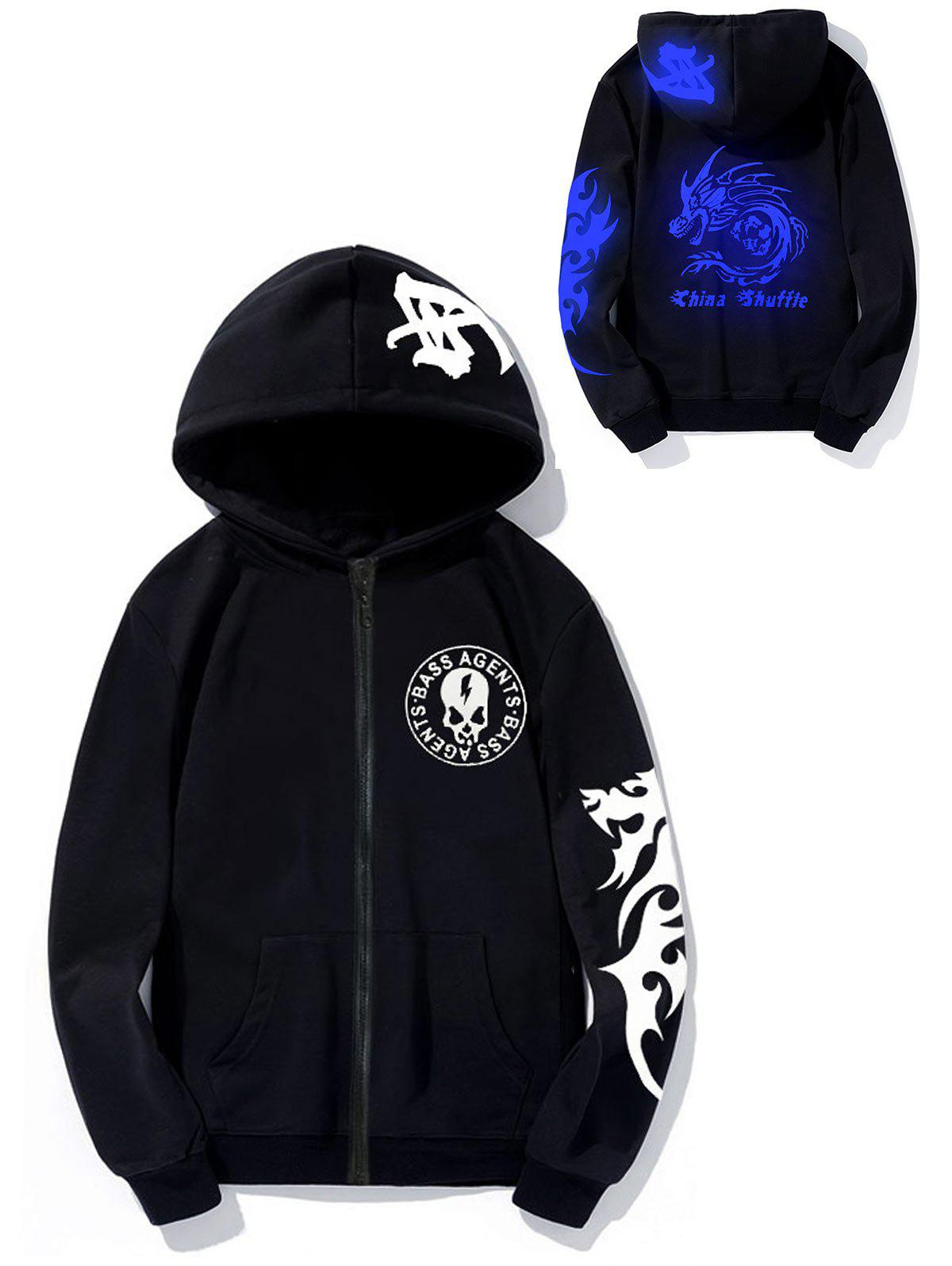 Luminous Skull Dragon Graphic Print HoodieMEN<br><br>Size: XL; Color: BLUE; Material: Cotton,Polyester; Shirt Length: Regular; Sleeve Length: Full; Style: Fashion; Weight: 0.4700kg; Package Contents: 1 x Hoodie;