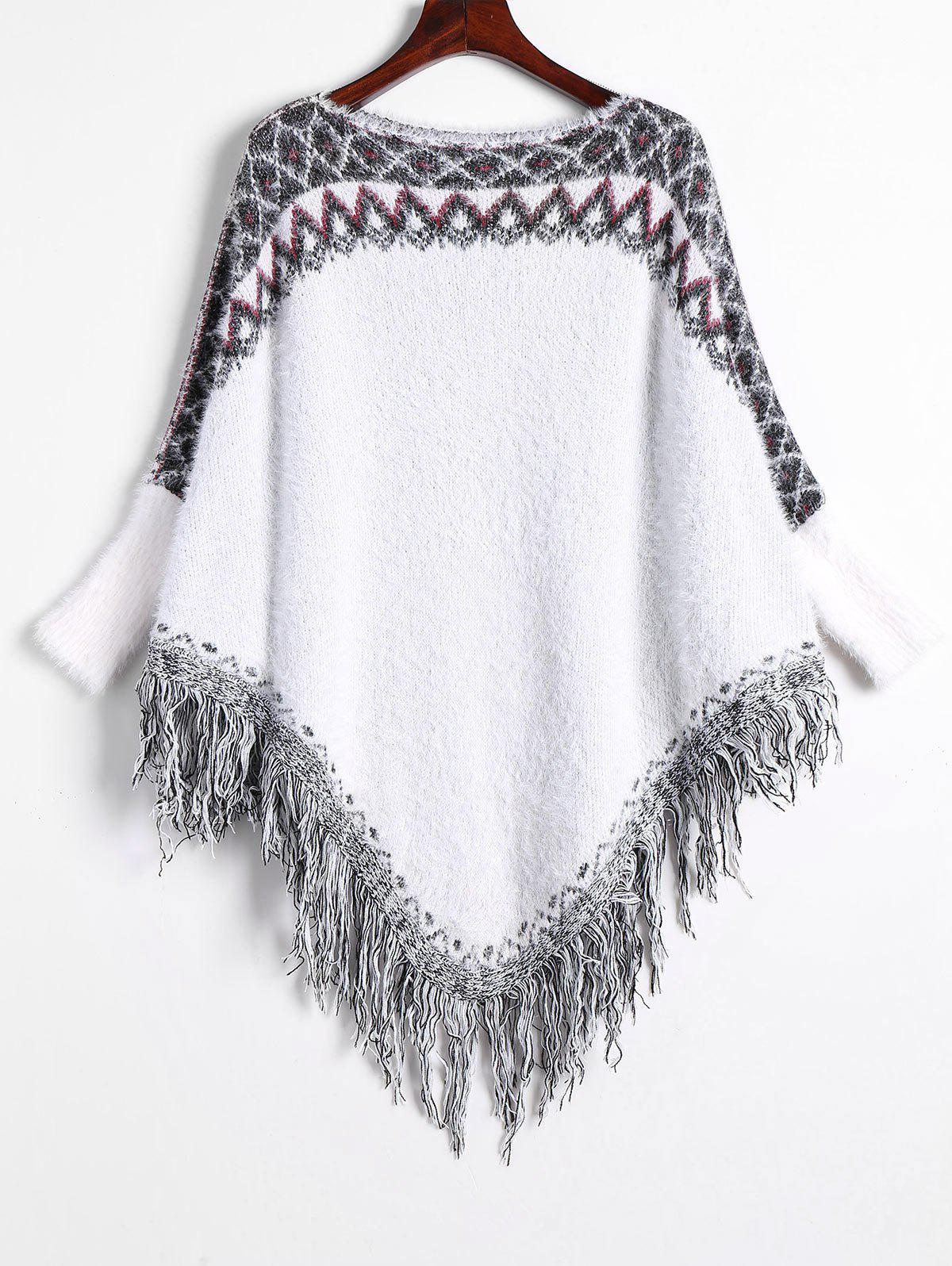 Fringed Batwing Asymmetric Fuzzy SweaterWOMEN<br><br>Size: ONE SIZE; Color: WHITE; Type: Pullovers; Material: Polyester,Viscose; Sleeve Length: Full; Collar: Boat Neck; Style: Fashion; Pattern Type: Print; Season: Winter; Weight: 0.5500kg; Package Contents: 1 x Sweater;