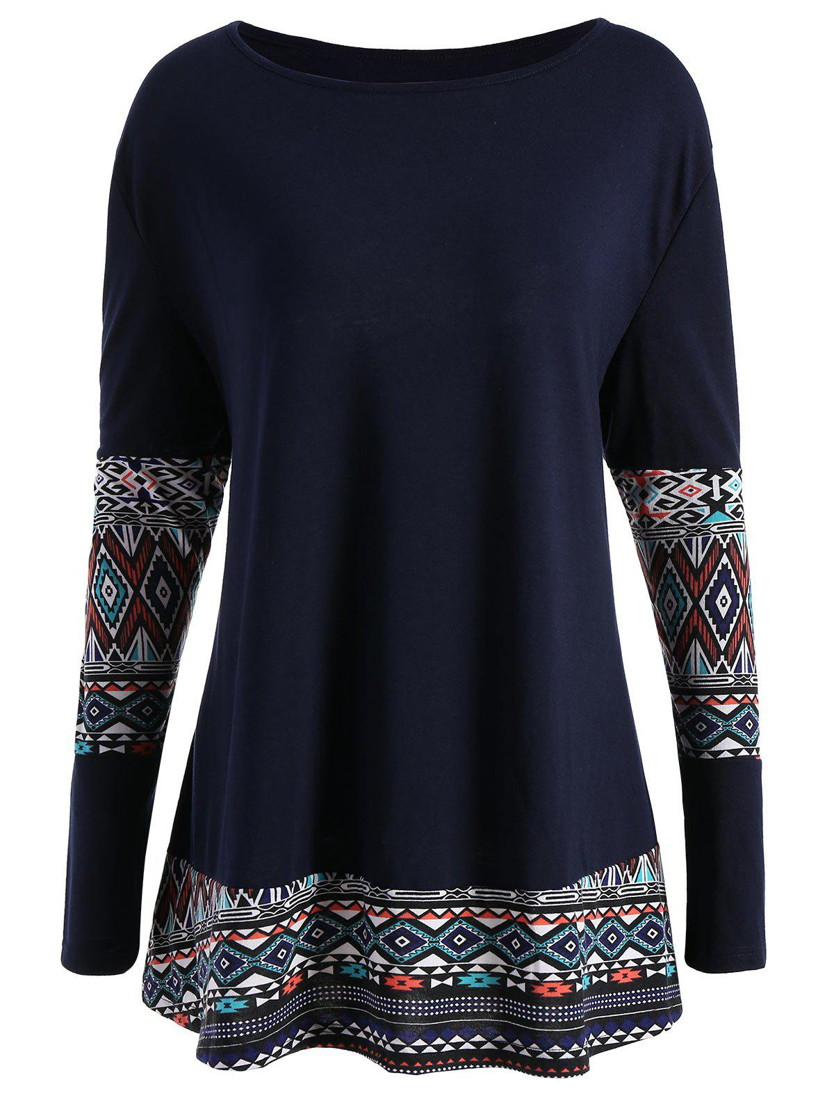 Geometric Print Plus Size Tunic TopWOMEN<br><br>Size: 2XL; Color: DEEP BLUE; Material: Polyester,Spandex; Shirt Length: Long; Sleeve Length: Full; Collar: Round Neck; Style: Casual; Season: Fall,Spring; Pattern Type: Print; Weight: 0.4800kg; Package Contents: 1 x Top;
