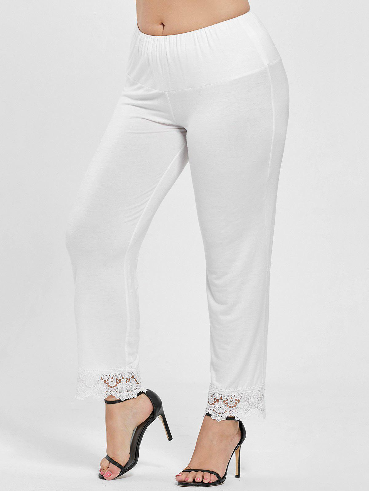 Plus Size Lace Trim High Waist Pants, White