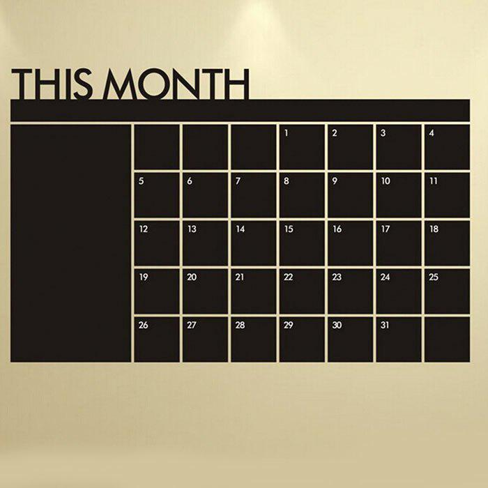 Blackboard Calendar Record Printed Wall Art StickerHOME<br><br>Color: BLACK; Wall Sticker Type: Plane Wall Stickers; Functions: Decorative Wall Stickers; Pattern Type: Letter; Material: PVC; Feature: Removable; Size(L*W)(CM): 92 x 60; Weight: 0.3000kg; Package Contents: 1 x Wall Sticker;