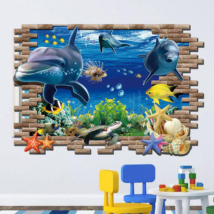 Submarine World Printed Homer Decor Wall Art StickerHOME<br><br>Color: COLORMIX; Wall Sticker Type: Plane Wall Stickers; Functions: Decorative Wall Stickers; Theme: Animals; Pattern Type: Animal; Material: PVC; Feature: Removable; Size(L*W)(CM): 100 x 70; Weight: 0.3500kg; Package Contents: 1 x Wall Sticker;