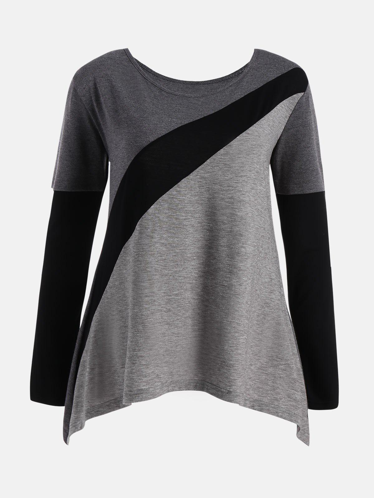 Color Block Plus Size Long Sleeve T-shirtWOMEN<br><br>Size: 3XL; Color: COLORMIX; Material: Polyester,Spandex; Shirt Length: Regular; Sleeve Length: Full; Collar: Scoop Neck; Style: Casual; Season: Fall,Spring; Pattern Type: Others; Elasticity: Elastic; Weight: 0.3000kg; Package Contents: 1 x T-shirt;