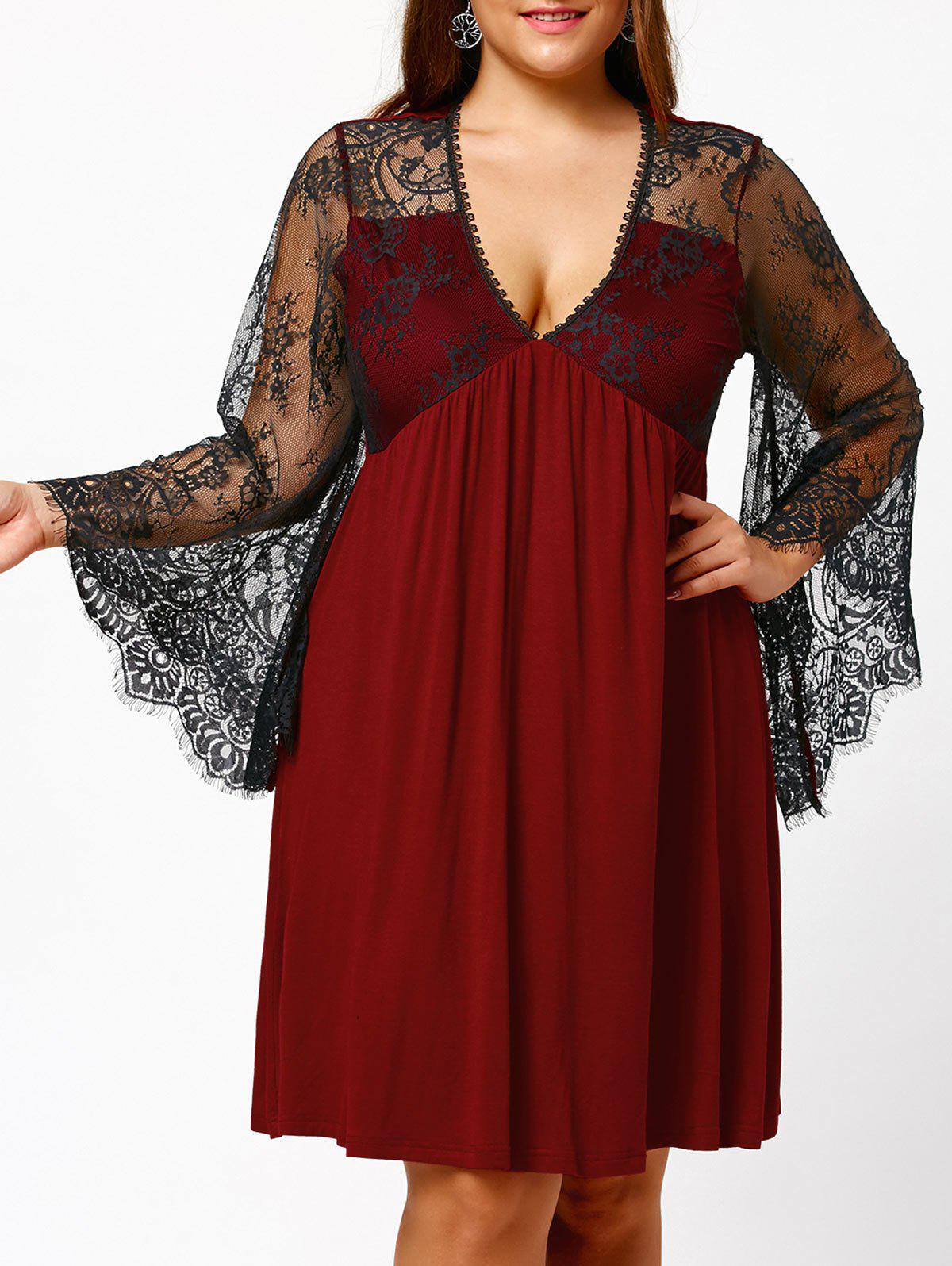 Plus Size Lace Sleeve Holiday DressWOMEN<br><br>Size: 3XL; Color: BURGUNDY; Style: Brief; Material: Polyester,Spandex; Silhouette: A-Line; Dresses Length: Knee-Length; Neckline: V-Neck; Sleeve Type: Flare Sleeve; Sleeve Length: Long Sleeves; Waist: Empire; Embellishment: Lace,Panel; Pattern Type: Solid Color; Elasticity: Elastic; With Belt: No; Season: Fall,Spring,Summer; Weight: 0.3500kg; Package Contents: 1 x Dress;