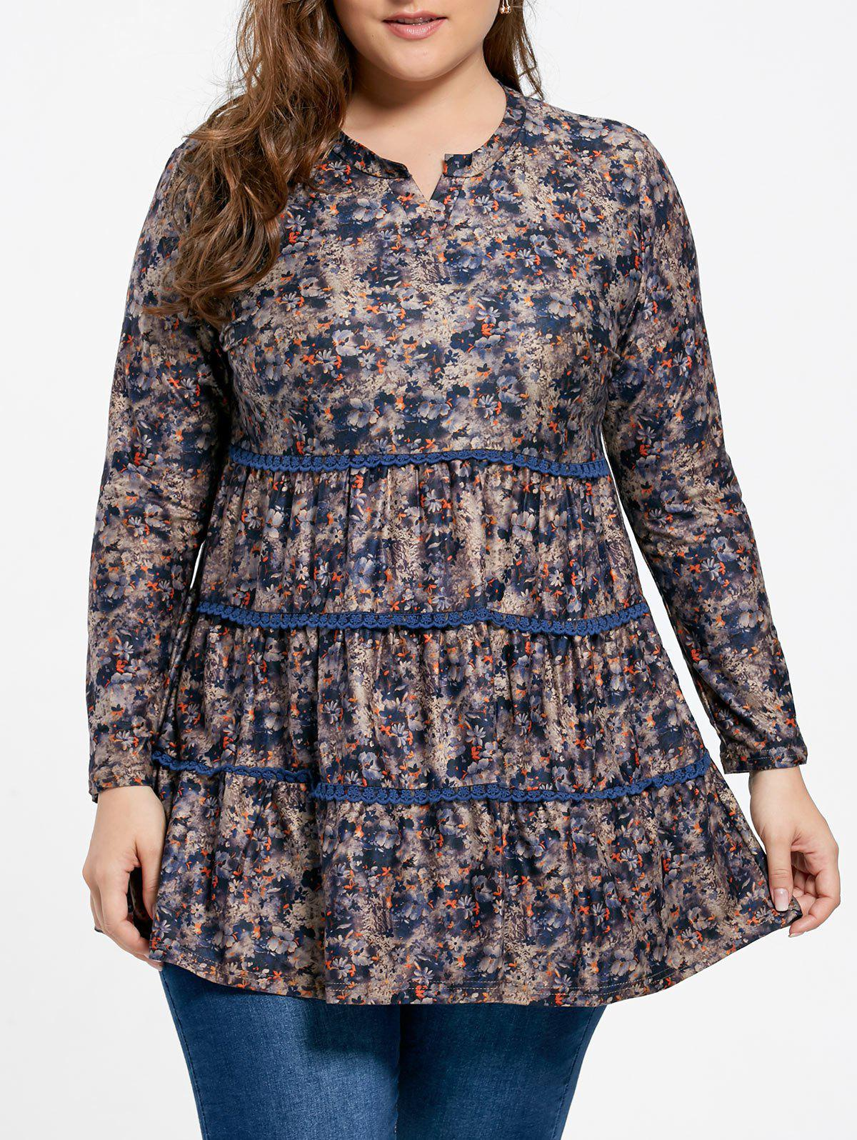 Plus Size Skirted Floral Print BlouseWOMEN<br><br>Size: 5XL; Color: MULTI; Material: Polyester; Shirt Length: Long; Sleeve Length: Full; Collar: V-Neck; Style: Fashion; Season: Fall; Pattern Type: Floral; Weight: 0.3500kg; Package Contents: 1 x Blouse;