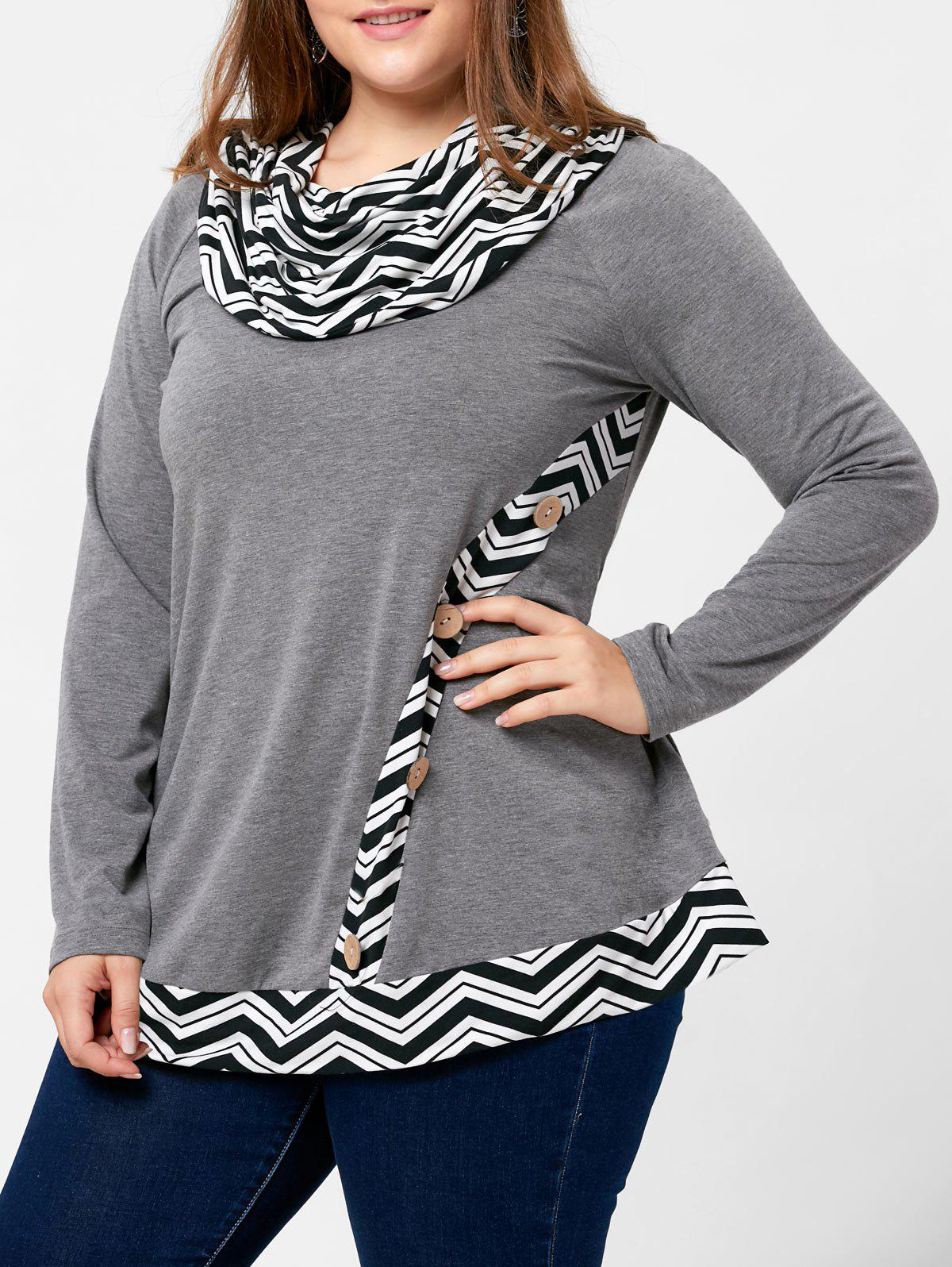 Plus Size Zigzag Pattern Cowl Neck TopWOMEN<br><br>Size: XL; Color: GRAY; Material: Polyester,Spandex; Shirt Length: Long; Sleeve Length: Full; Collar: Cowl Neck; Style: Casual; Season: Fall,Spring; Embellishment: Button; Pattern Type: Others; Weight: 0.3100kg; Package Contents: 1 x Top;