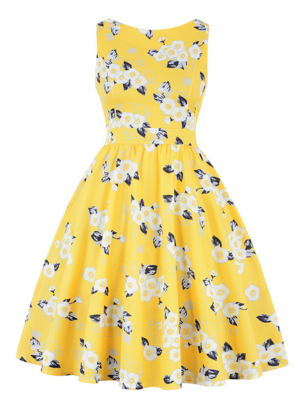 Print High Waist A Line Vintage DressWOMEN<br><br>Size: S; Color: YELLOW; Style: Vintage; Material: Polyester,Spandex; Silhouette: A-Line; Dresses Length: Knee-Length; Neckline: Round Collar; Sleeve Length: Sleeveless; Pattern Type: Floral; With Belt: No; Season: Fall,Spring; Weight: 0.4200kg; Package Contents: 1 x Dress;