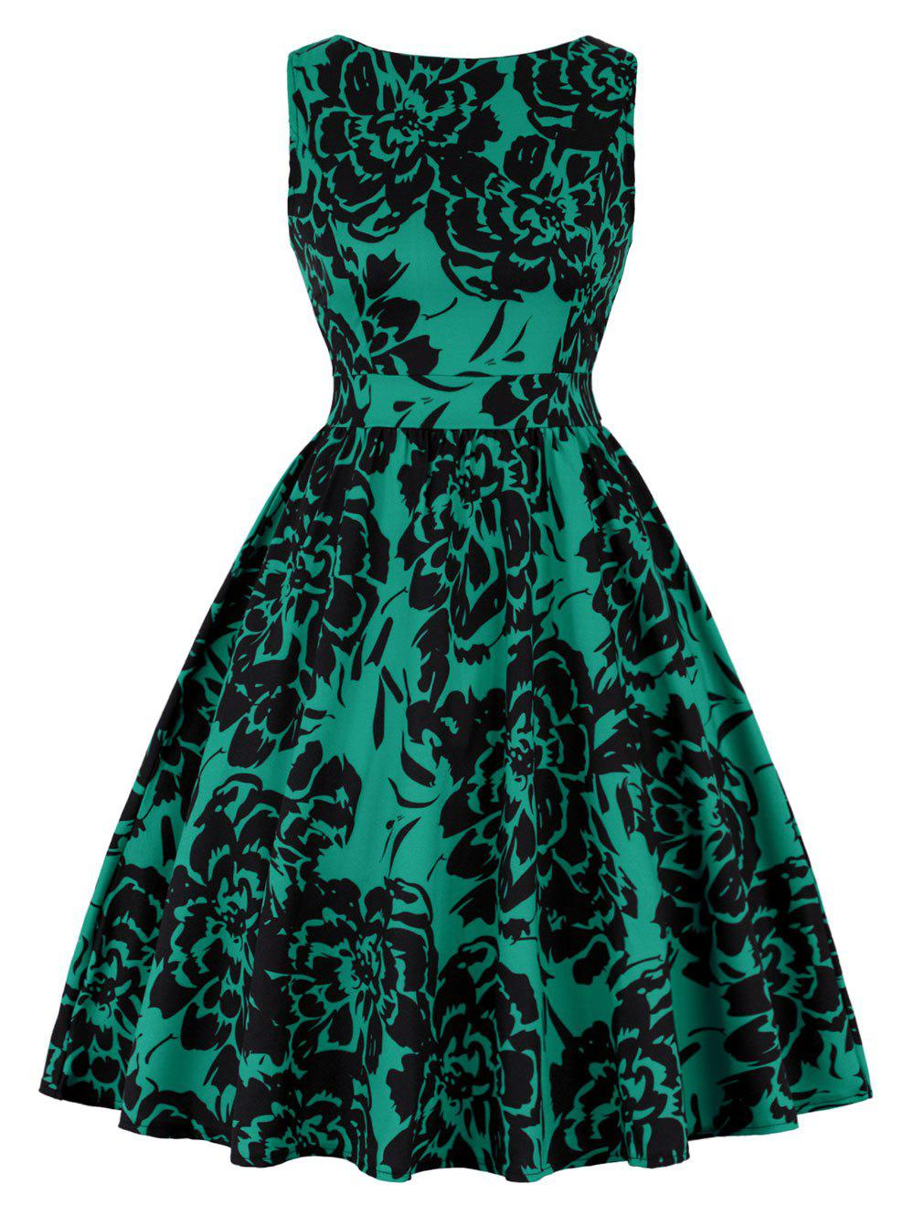 Print High Waist A Line Vintage DressWOMEN<br><br>Size: M; Color: GREEN; Style: Vintage; Material: Polyester,Spandex; Silhouette: A-Line; Dresses Length: Knee-Length; Neckline: Round Collar; Sleeve Length: Sleeveless; Pattern Type: Floral; With Belt: No; Season: Fall,Spring; Weight: 0.4200kg; Package Contents: 1 x Dress;