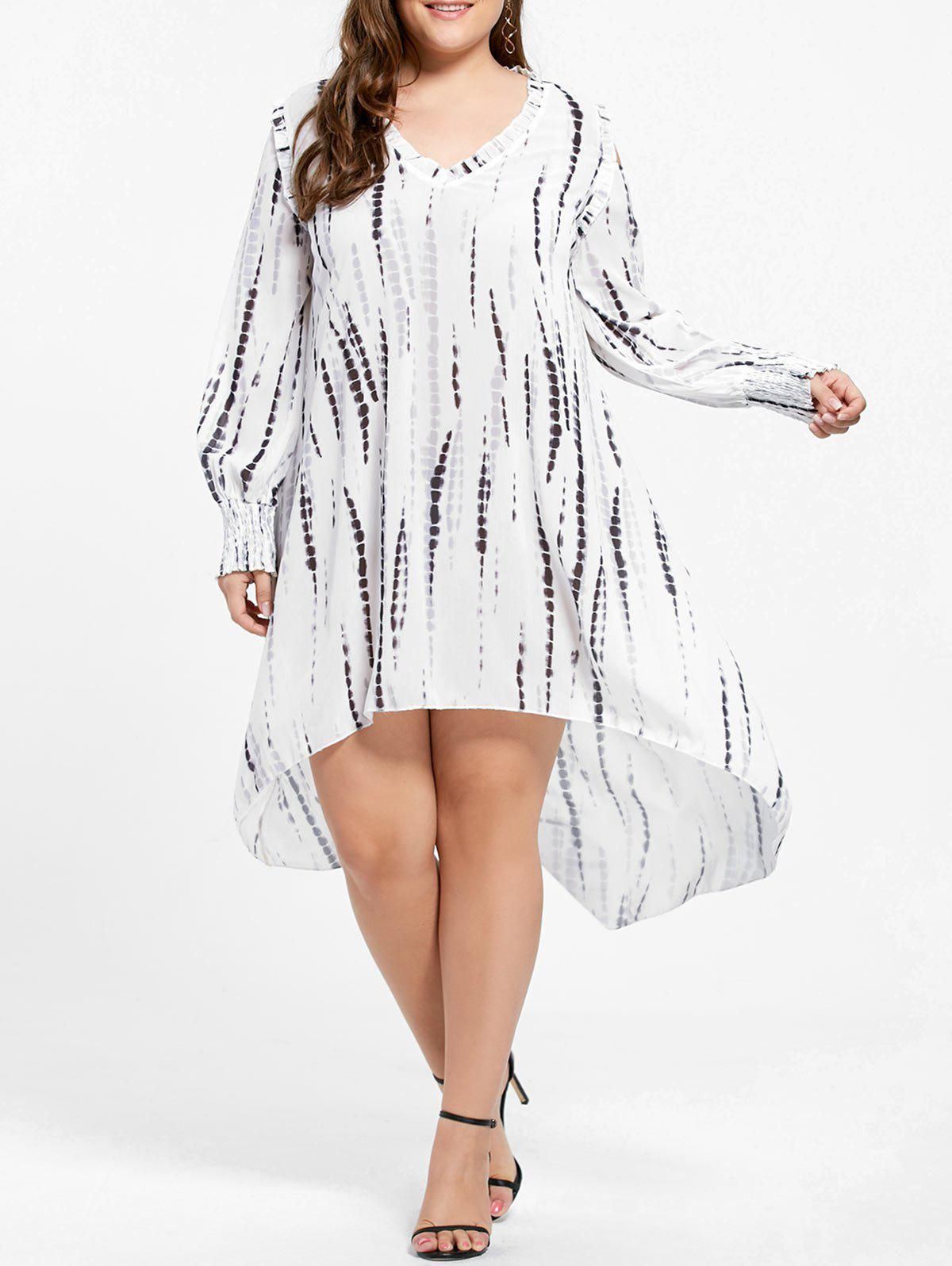 Ruffle V-neck Plus Size High Low DressWOMEN<br><br>Size: 3XL; Color: BLACK WHITE; Style: Cute; Material: Polyester; Silhouette: Straight; Dresses Length: Mid-Calf; Neckline: V-Neck; Sleeve Length: Long Sleeves; Pattern Type: Print; With Belt: No; Season: Fall,Spring; Weight: 0.3800kg; Package Contents: 1 x Dress;