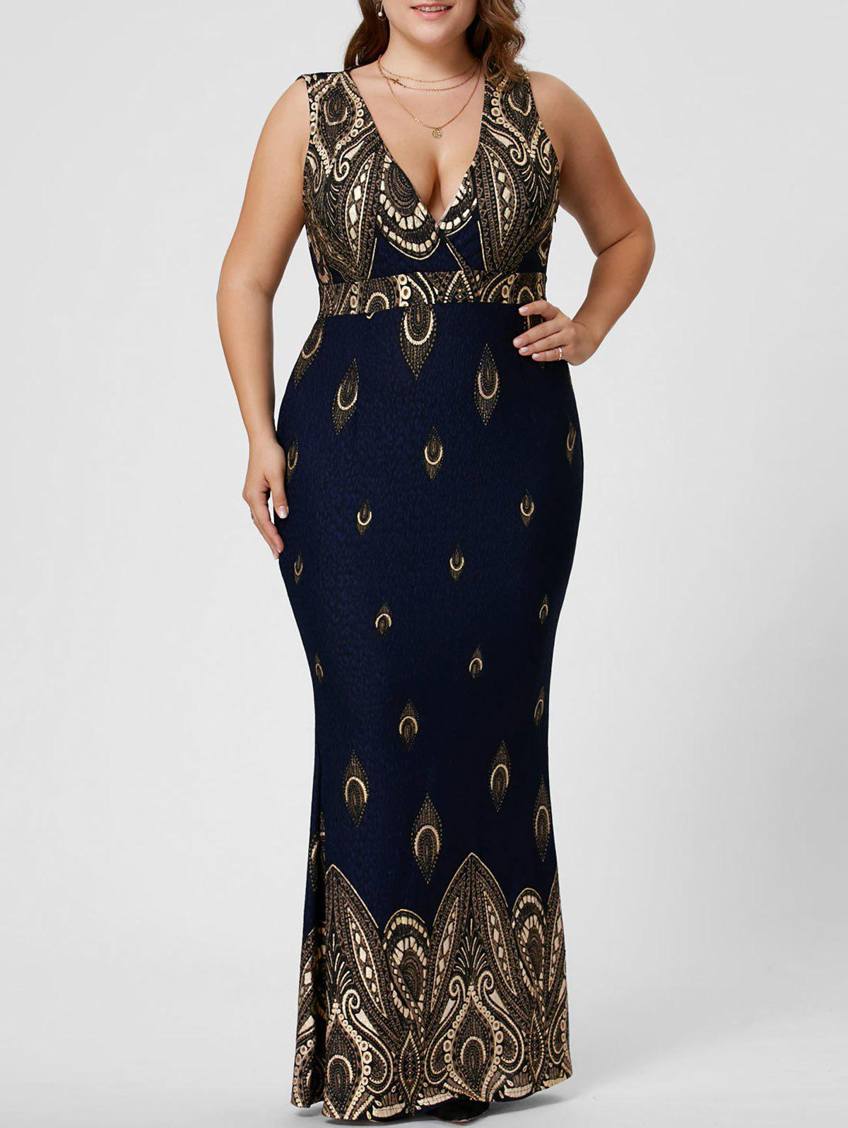 Plus Size Plunging Sleeveless Mermaid Party DressWOMEN<br><br>Size: 4XL; Color: DEEP BLUE; Style: Brief; Material: Polyester; Silhouette: Trumpet/Mermaid; Dresses Length: Ankle-Length; Neckline: Plunging Neck; Sleeve Length: Sleeveless; Pattern Type: Others; With Belt: No; Season: Fall,Spring,Summer; Weight: 0.3500kg; Package Contents: 1 x Dress;