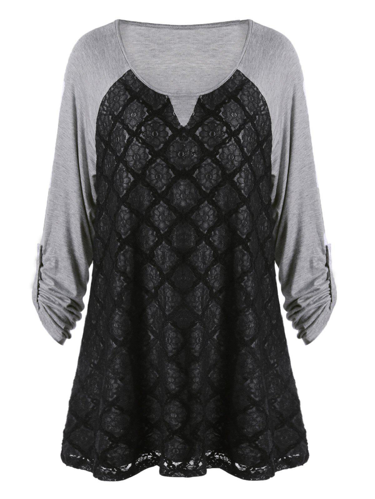 Plus Size Lace Panel Raglan Sleeve TopWOMEN<br><br>Size: 5XL; Color: BLACK AND GREY; Material: Cotton,Polyester; Shirt Length: Long; Sleeve Length: Three Quarter; Collar: Scoop Neck; Style: Casual; Season: Fall,Spring; Sleeve Type: Raglan Sleeve; Embellishment: Lace,Panel; Pattern Type: Floral; Weight: 0.3800kg; Package Contents: 1 x T-shirt;