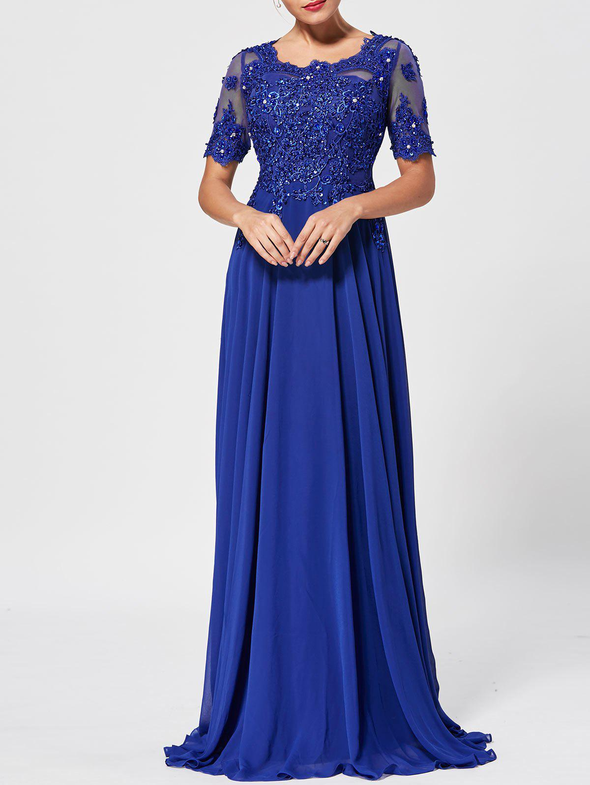 Hot Floral Lace Rhinestone Maxi Prom Evening Dress