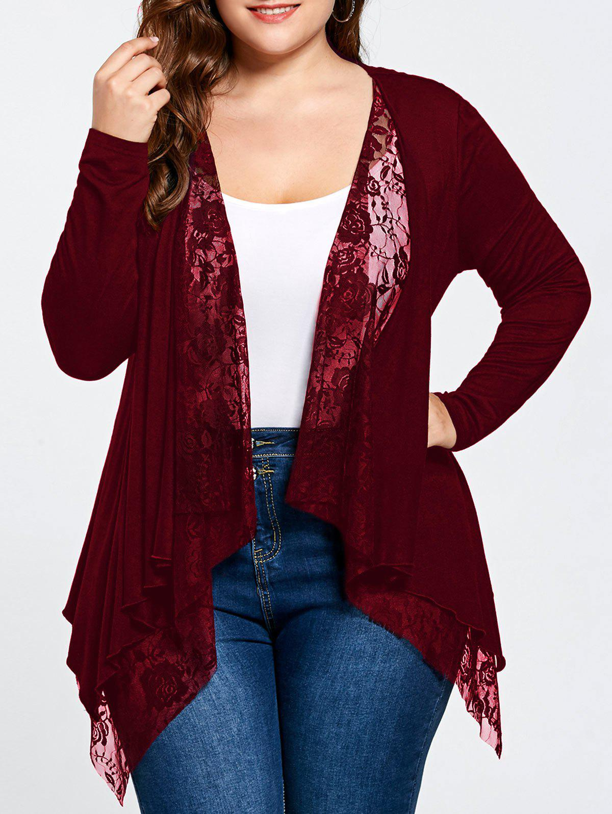 Plus Size Lace Trim Open Front CardiganWOMEN<br><br>Size: 5XL; Color: WINE RED; Type: Cardigans; Material: Rayon,Spandex; Sleeve Length: Full; Collar: Collarless; Style: Fashion; Season: Fall,Spring,Summer; Pattern Type: Solid; Weight: 0.3400kg; Package Contents: 1 x Cardigan;