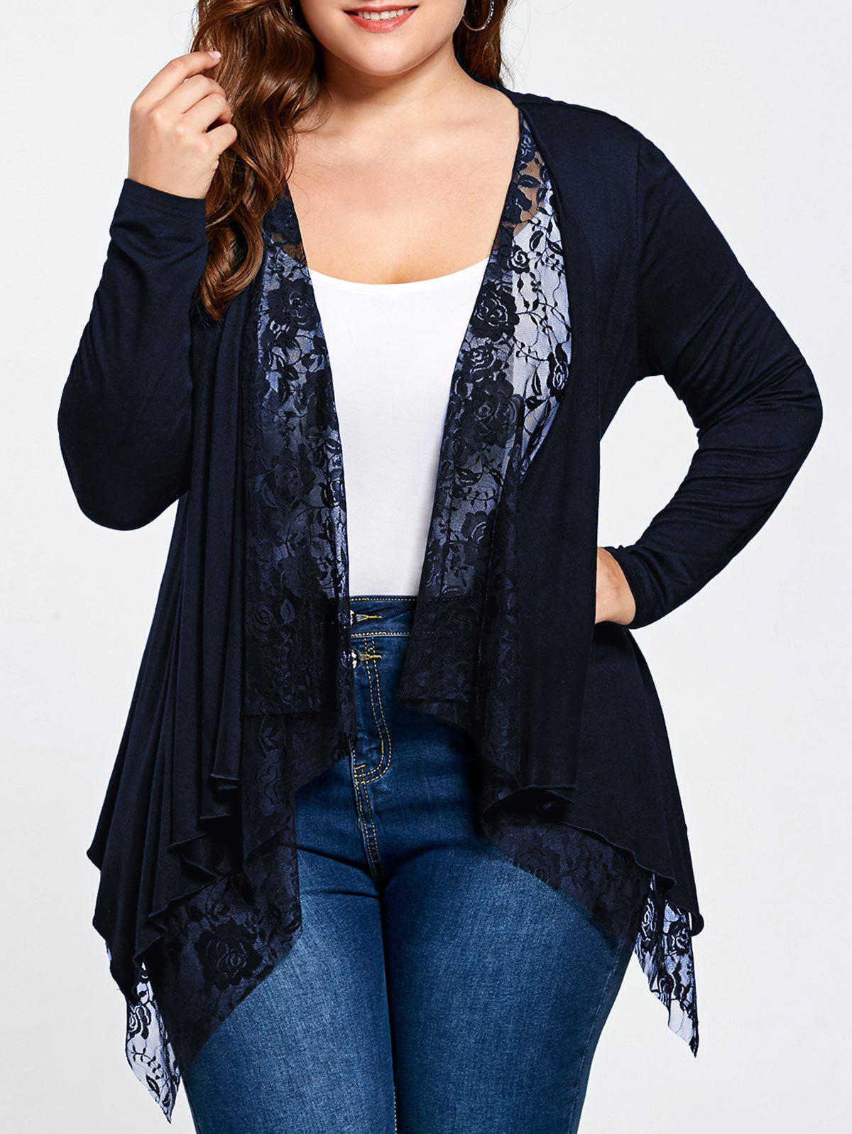 Plus Size Lace Trim Open Front CardiganWOMEN<br><br>Size: 5XL; Color: PURPLISH BLUE; Type: Cardigans; Material: Rayon,Spandex; Sleeve Length: Full; Collar: Collarless; Style: Fashion; Season: Fall,Spring,Summer; Pattern Type: Solid; Weight: 0.3400kg; Package Contents: 1 x Cardigan;