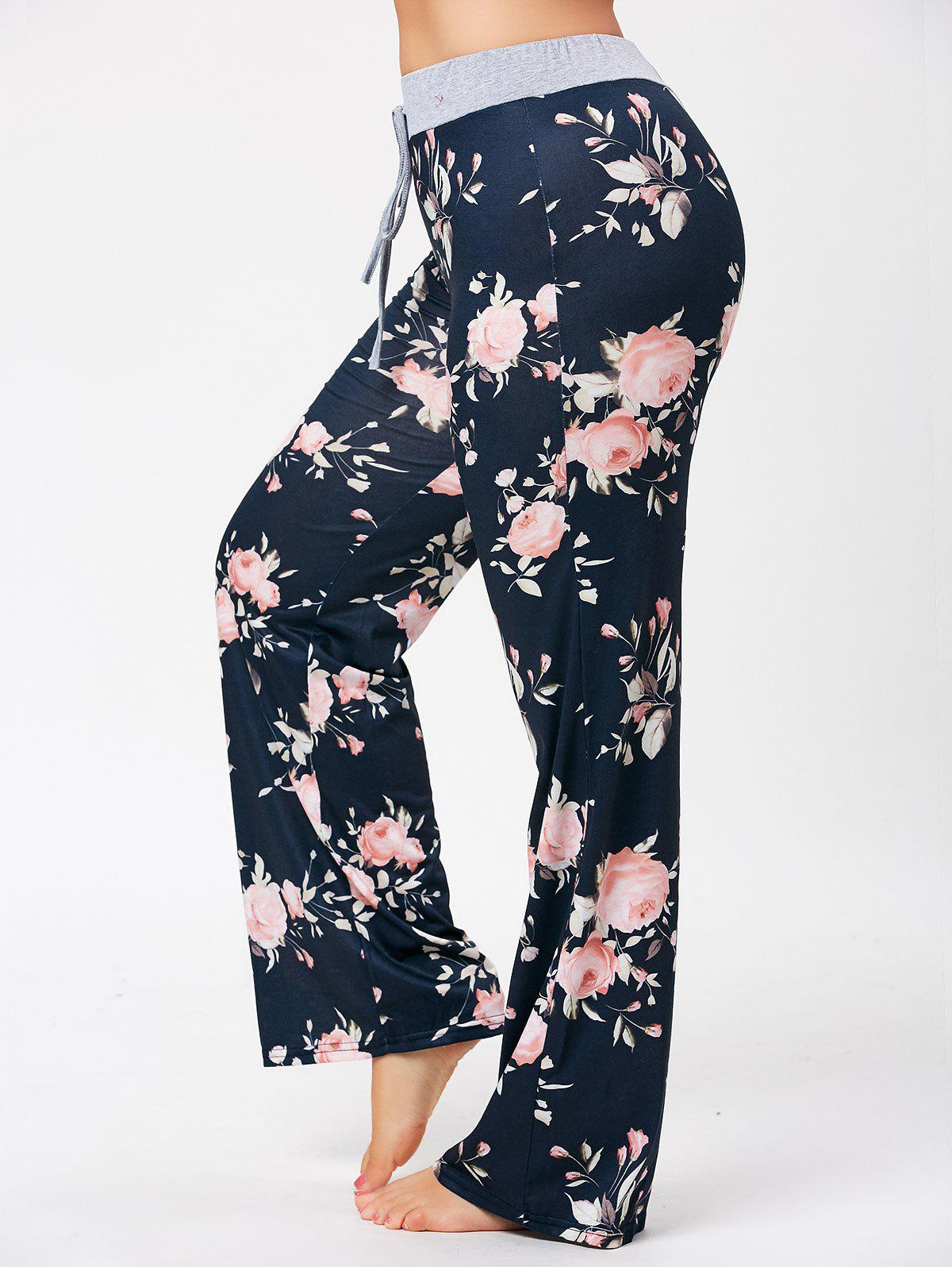 Plus Size Drawstring Floral Pajamas PantsWOMEN<br><br>Size: 4XL; Color: COLORMIX; Material: Polyester; Pattern Type: Floral; Embellishment: None; Weight: 0.3600kg; Package Contents: 1 x Pants;