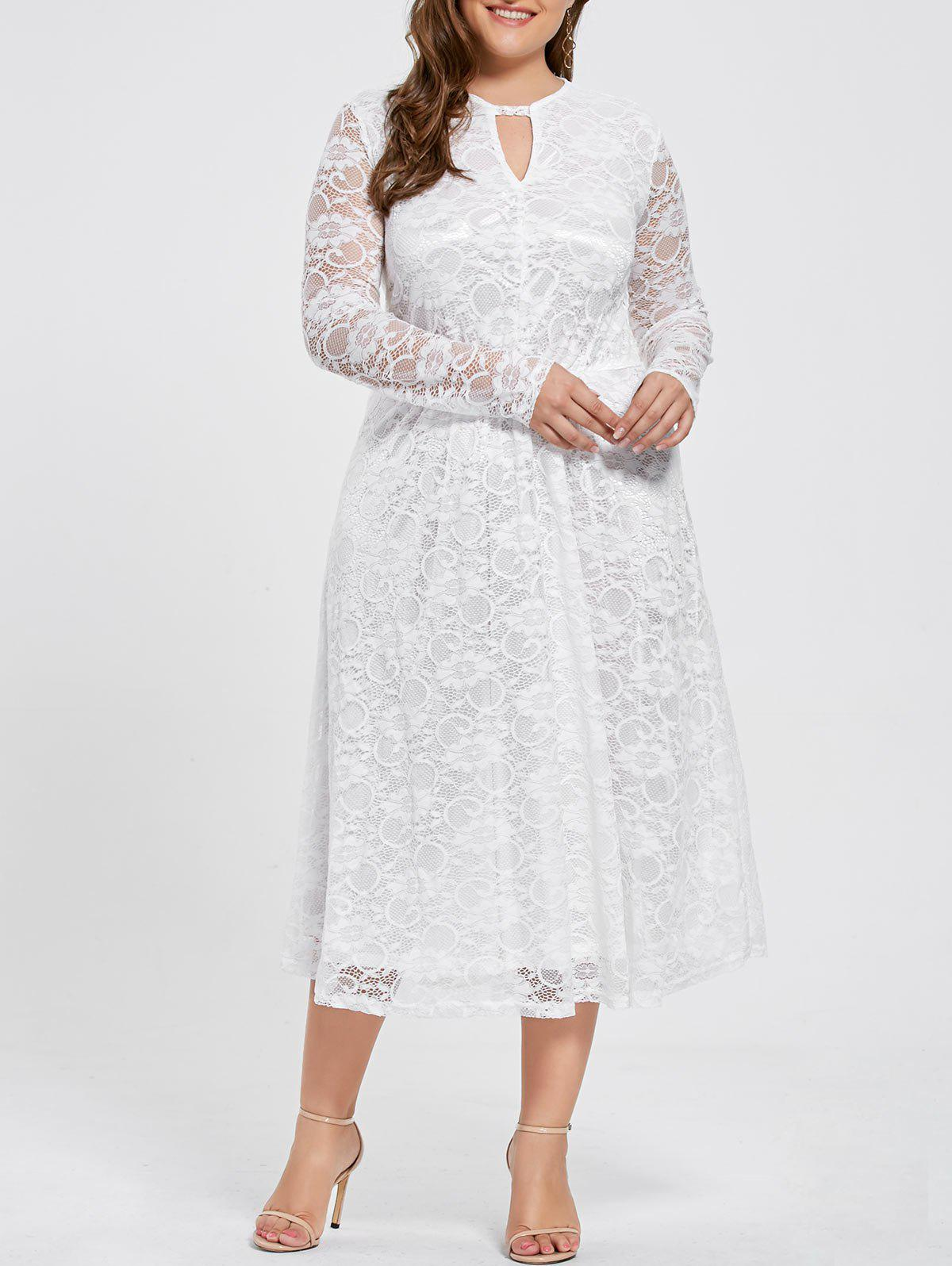Long Sleeve Plus Size Keyhole Lace DressWOMEN<br><br>Size: 3XL; Color: WHITE; Style: Brief; Material: Polyester; Silhouette: Sheath; Dresses Length: Mid-Calf; Neckline: Keyhole Neck; Sleeve Length: Long Sleeves; Embellishment: Lace; Pattern Type: Solid; With Belt: No; Season: Fall,Spring; Weight: 0.4600kg; Package Contents: 1 x Dress;