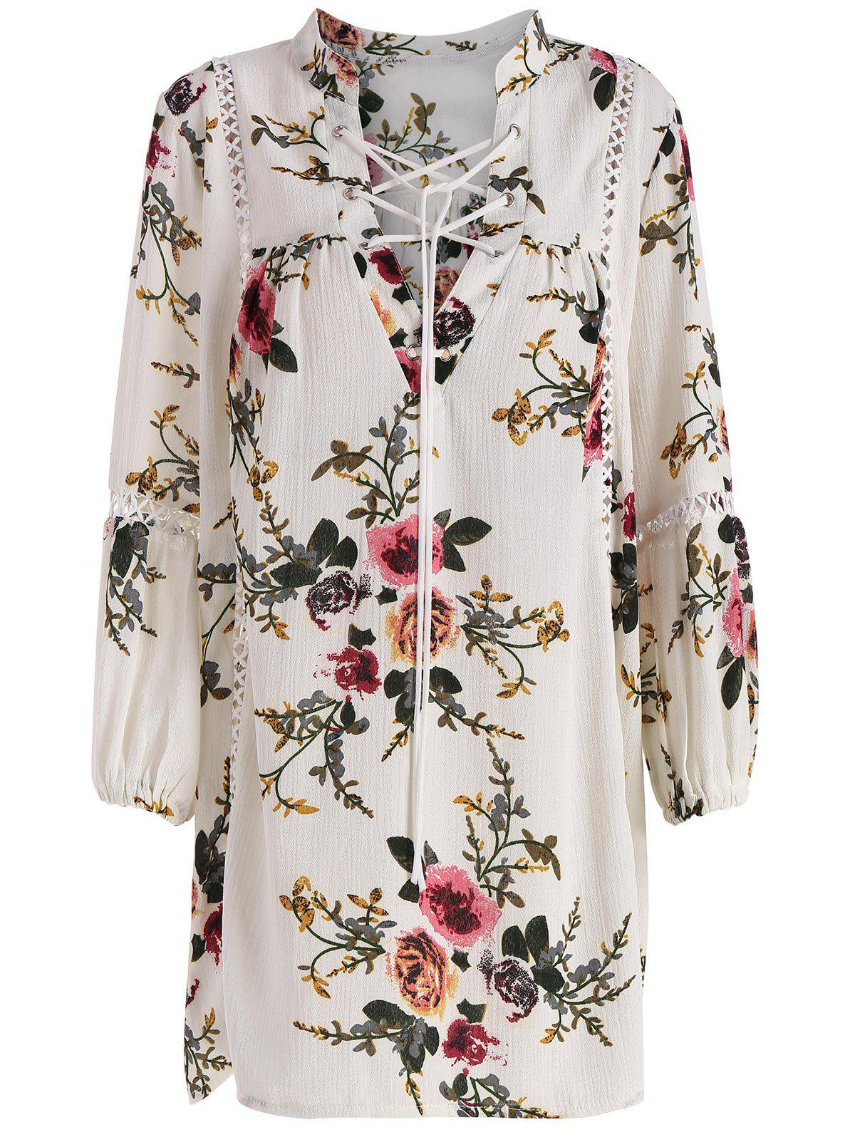 Floral Plus Size Lace Up Hollow Out TopWOMEN<br><br>Size: 3XL; Color: CRYSTAL CREAM; Material: Polyester; Shirt Length: Long; Sleeve Length: Full; Collar: V-Neck; Style: Fashion; Season: Fall,Spring; Pattern Type: Floral; Weight: 0.3400kg; Package Contents: 1 x Top;
