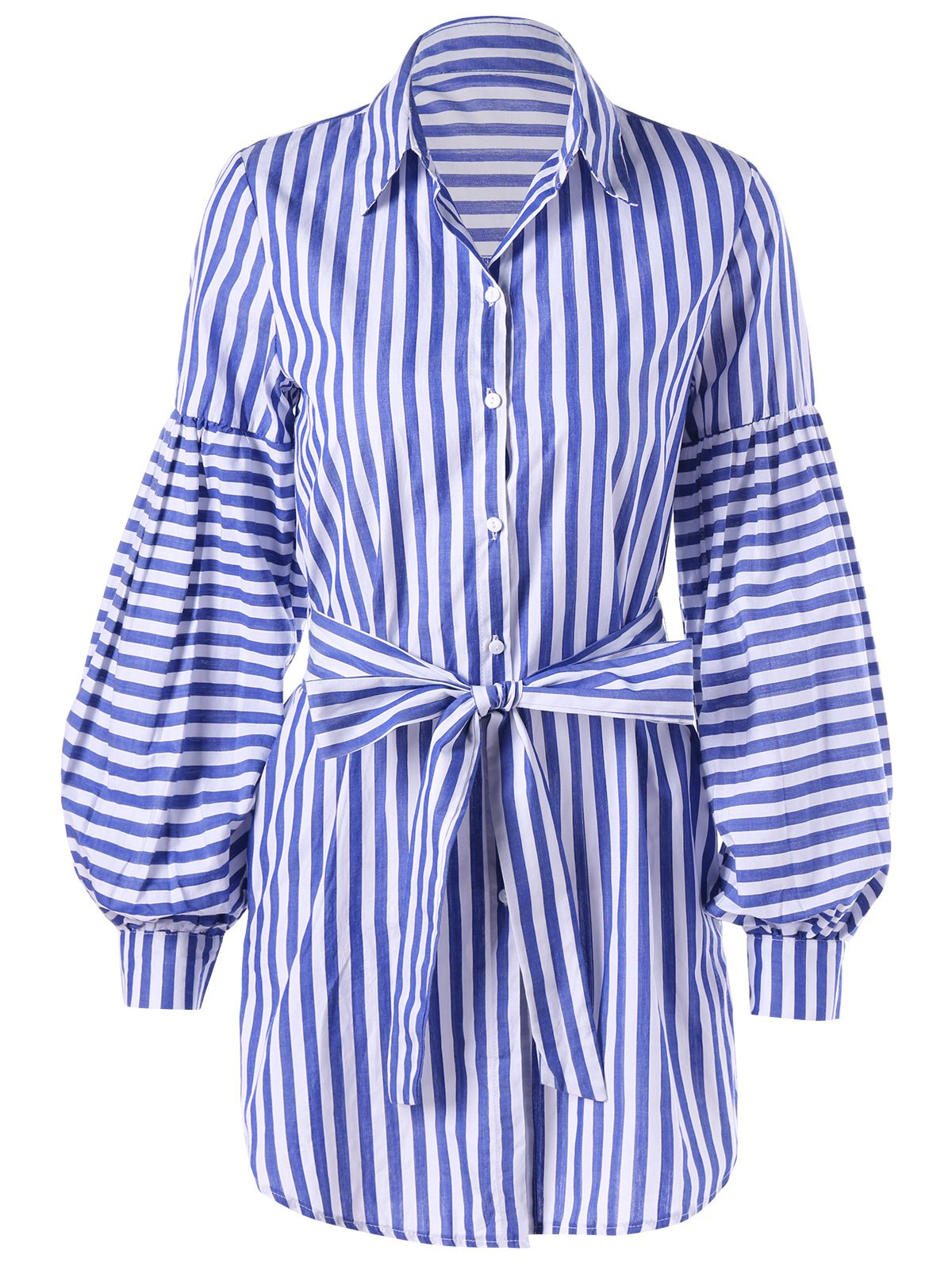 Affordable Lantern Sleeve Tie Belt Striped Shirt Dress
