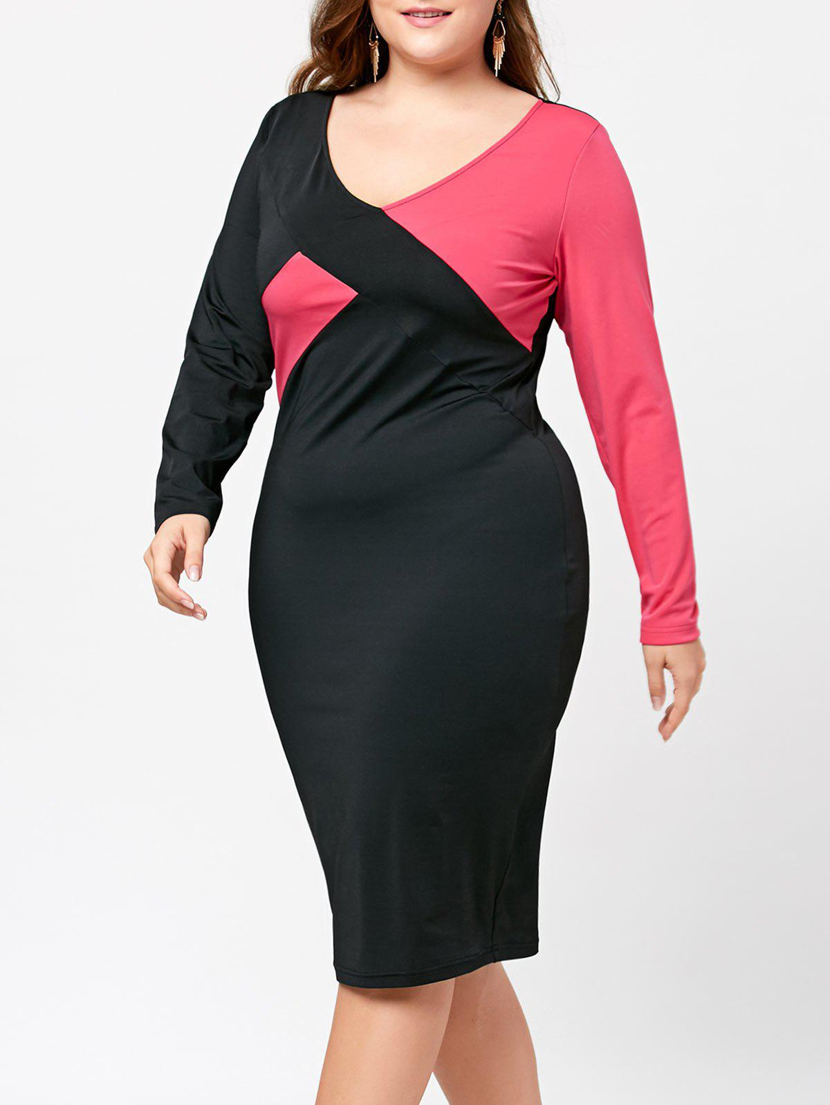 V-neck Color Block Plus Size Sheath DressWOMEN<br><br>Size: 5XL; Color: BLACK + ROSE; Style: Brief; Material: Polyester,Spandex; Silhouette: Sheath; Dresses Length: Knee-Length; Neckline: V-Neck; Sleeve Length: Long Sleeves; Pattern Type: Others; With Belt: No; Season: Fall,Spring; Weight: 0.3400kg; Package Contents: 1 x Dress;
