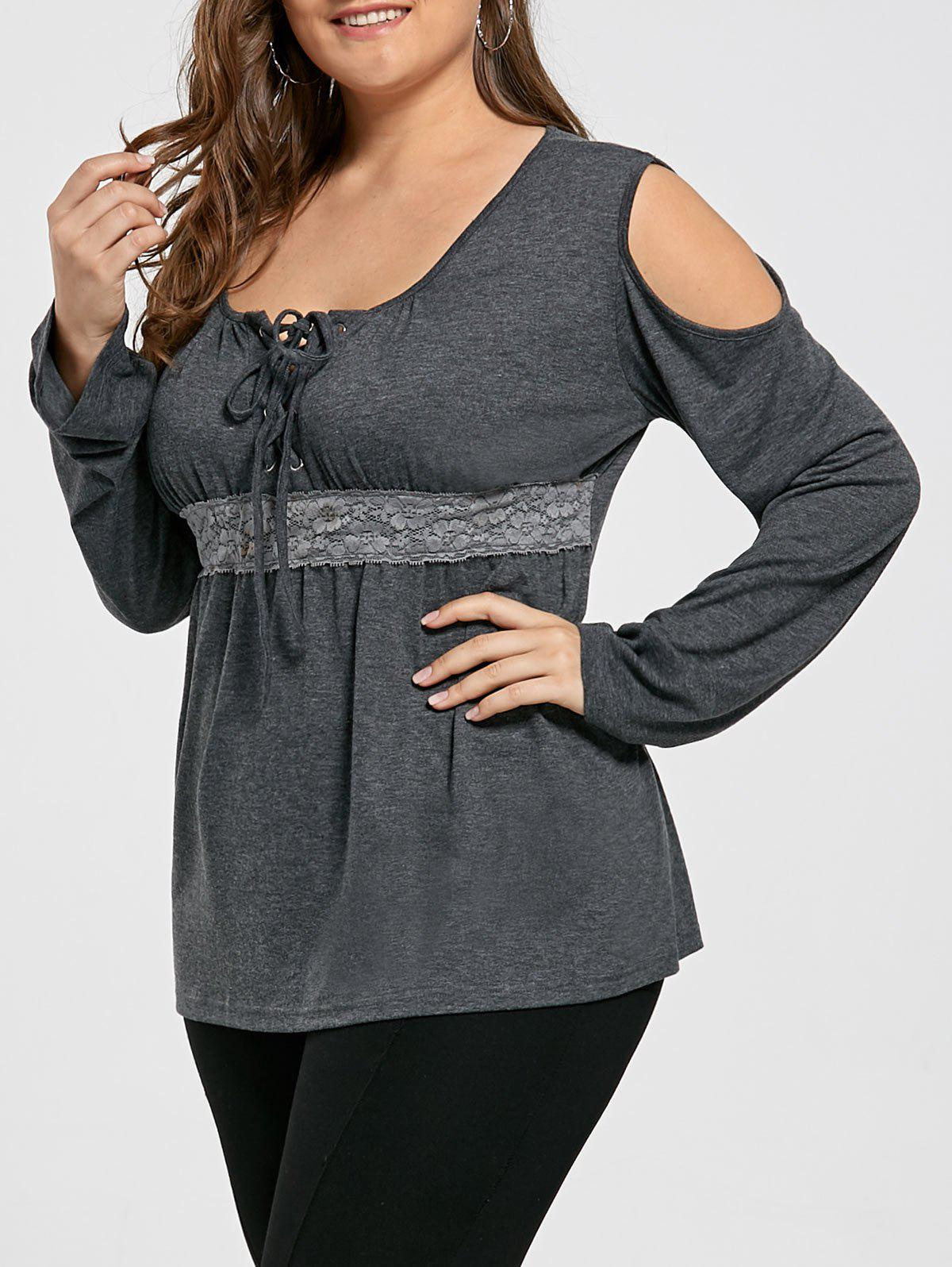 Unique Cold Shoulder Lace Up Plus Size Top