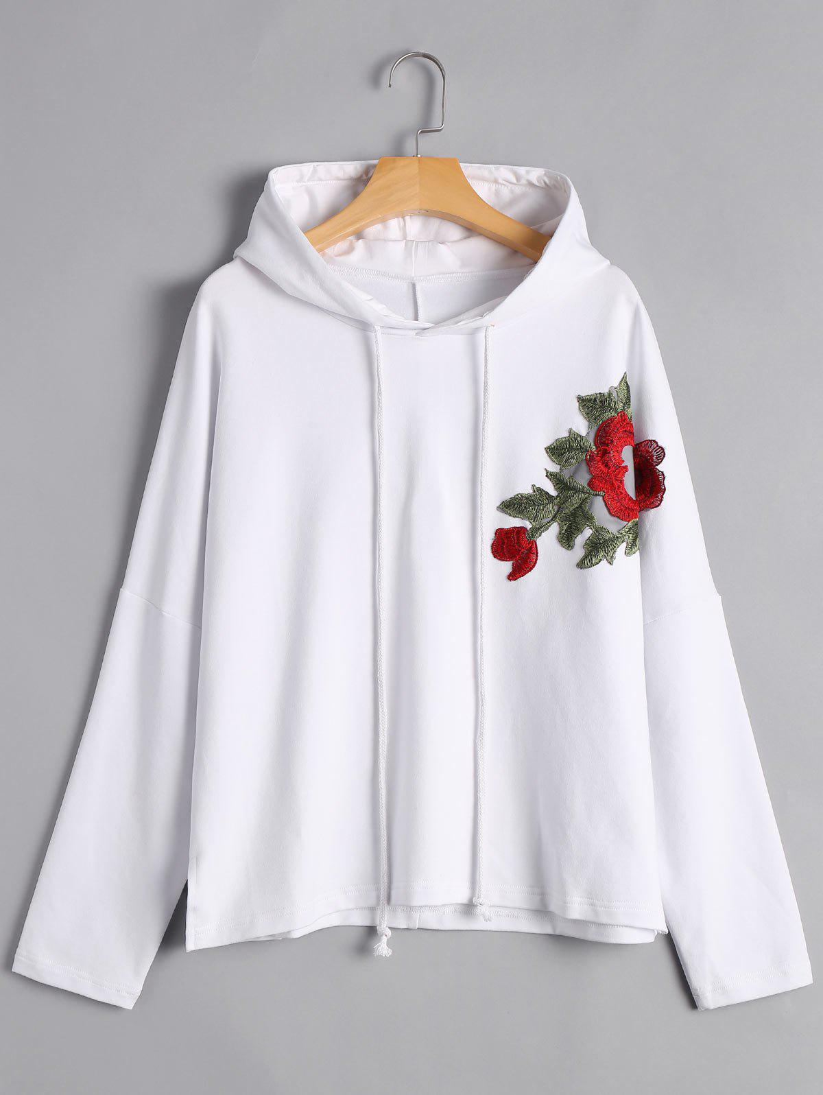 Fashion Floral Applique Pullover Hoodie