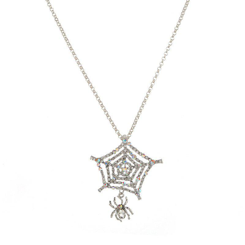 Rhinestone Charm Halloween Spider Web NecklaceJEWELRY<br><br>Color: SILVER; Item Type: Pendant Necklace; Gender: For Women; Necklace Type: Link Chain; Material: Rhinestone; Style: Noble and Elegant; Shape/Pattern: Animal; Length: 71CM; Weight: 0.0300kg; Package Contents: 1 x Necklace;